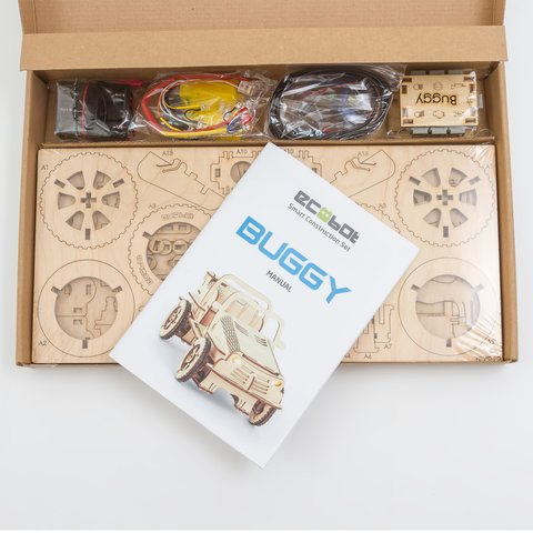 Wooden Construction Kit Bluetooth Controlled EcoBot Buggy